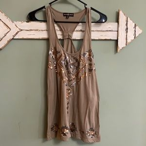 🔴3 for $10 - sparkly tan tank top